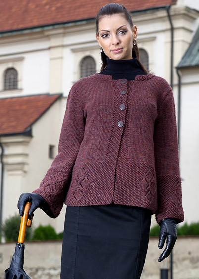 jacket with diamond border knitting pattern